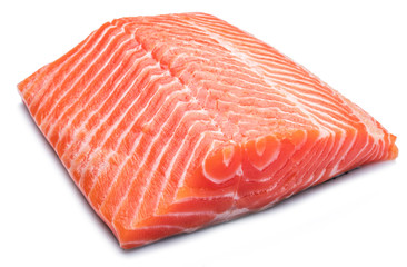 Fresh raw salmon fillet on white background.