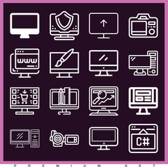 Set of 16 screen outline icons