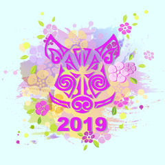 Boar's or Pig's Head isolated on background. Pig's or Boar's head as logo, badge, icon, patch. Template for party invitation, greeting card, pet shop, web. Symbol of Chinese New Year 2019.