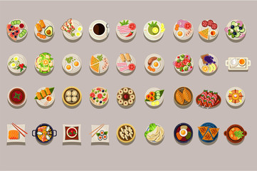 Flat vector set of various dishes. Detailed food icons. Coffee and green tea. Culinary theme. Delicious meal. Elements for restaurant or cafe menu