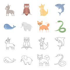 Whale, elephant,snake, fox.Animal set collection icons in cartoon,outline style vector symbol stock illustration web.