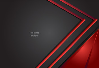 Red and Black abstract layer geometric background  for card, annual business report, poster template