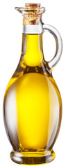 Bottle of olive oil on white background. Clipping path.