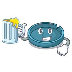 With juice ashtray mascot cartoon style
