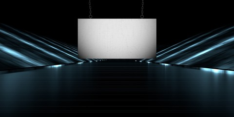 3d rendering of a blank banner in a futuristic stage road with a dark background