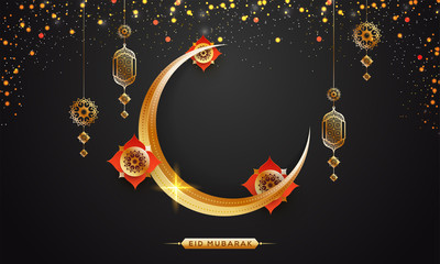 Golden shiny, crescent moon, hanging intricate lanterns and golden sparkle on grey background. Eid Mubarak concept.