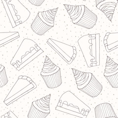 Hand drawn vector bakery seamless pattern with cake pieces and cupcakes covered with cream topping. Sweet food outline in sketchy style on the dotted background.