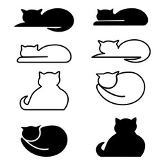 Cats, set of icon. Abstract concept. Vector illustration on white background.