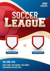 Soccer league poster, banner or flyer design with blank space for team flags.