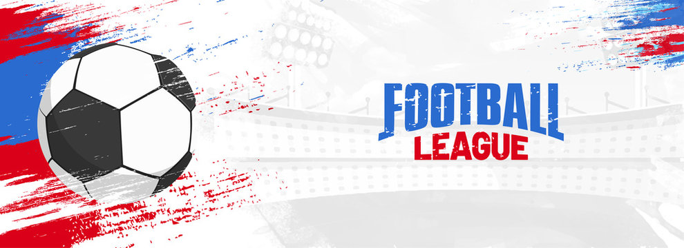 Football league, web banner design with soccer ball on colorful grungy background.