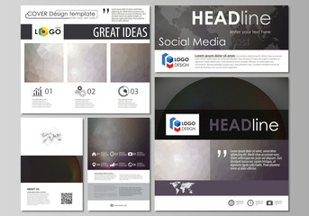 Social media posts set. Business templates. Easy editable design template, vector layouts in popular formats. Dark color triangles and colorful circles. Abstract polygonal style modern background.