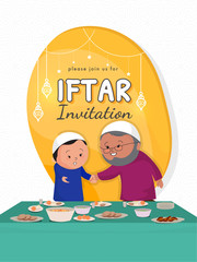 Islamic old man and kid inviting for Iftar party, with event date and venue details and dinning table full of eatable items.