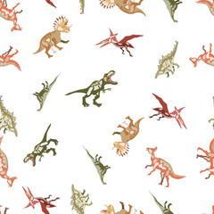Vector seamless  pattern. Dinosaurs. T-REX,  Tyrannosaur, Velociraptor, Triceratops, Brontosaurus, Parasaurolophus, Stegosaurus, Pteranodon.
