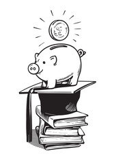 Piggy bank with Graduation hat, money and stack of books