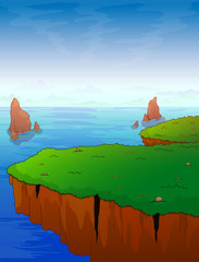 The mountain protrusion against the background of the sea. Vector illustration.