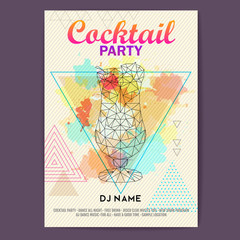 Triangle Cocktail pina colada on artistic polygon watercolor background. Cocktail disco party poster