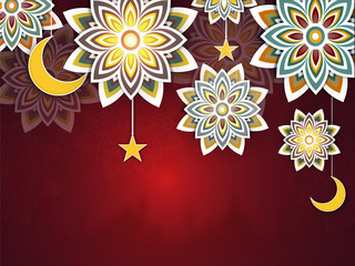 Beautiful floral patttern and hanging golden moon, stars, on red background, with mosque silhouette.