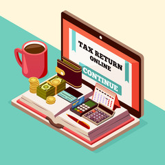 Accounting And Taxes Isometric Background