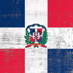 scratched Dominican Republic flag