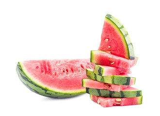 watermelon slices pile isolated on white