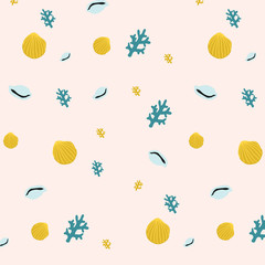 Cute pattern with shells.Perfect design for greeting cards, posters, T-shirts, banners, print invitations.