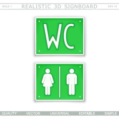 Toilet. WC. Information signboard. Top view. Vector design elements