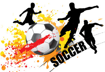 soccer player with splatter color with ball on white background