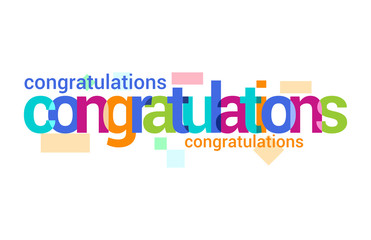 Congratulations Overlapping vector Letter Design