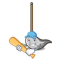 Playing baseball mop character cartoon style