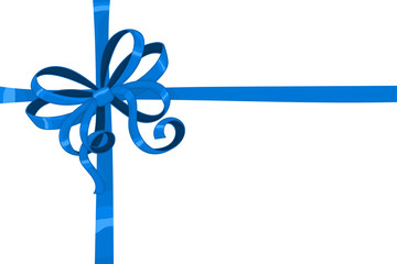 Blue ribbon bow wrapped over giftbox