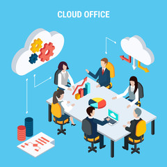 Cloud Office Isometric Poster