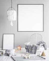 Mock up posters frame in children room, scandinavian style interior background, 3D render