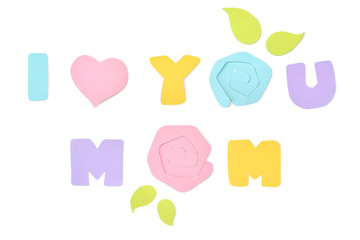 Mother day card paper cut on white background - isolated
