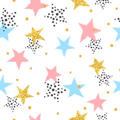 Abstract celebration background with colorful stars. Seamless vector pattern.