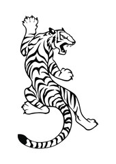 Black and white symbol or sign tiger isolated on white background. Vector illustration for tattoo, print on t-shirt etc.