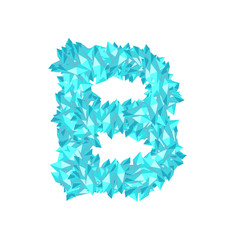 Alphabet Crystal diamond 3D virtual set letter B illustration Gemstone concept design blue color, isolated on white background, vector eps 10