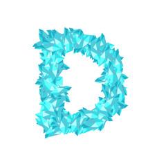 Alphabet Crystal diamond 3D virtual set letter D illustration Gemstone concept design blue color, isolated on white background, vector eps 10