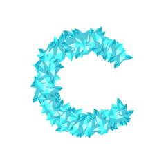 Alphabet Crystal diamond 3D virtual set letter C illustration Gemstone concept design blue color, isolated on white background, vector eps 10