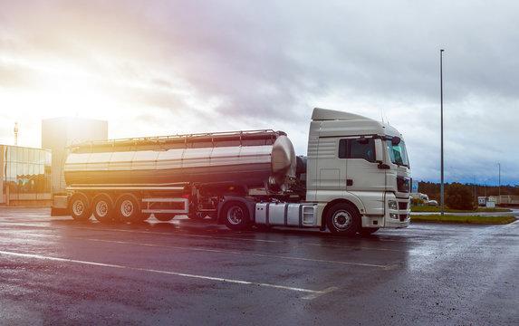 Big tanker truck, cistern water fuel truck, trailer tanker truck