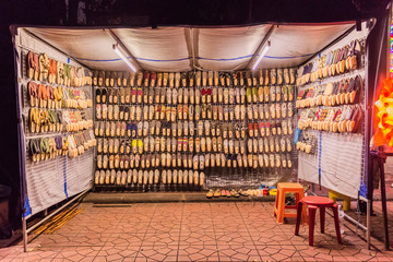 Bangkok, Thailand - July 9, 2017: Night market at Soi Ram Butri near Khao Sarn road area