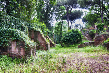 Nature and Roman empire archaeological excavations of the Port of Trajan - Rome - Italy