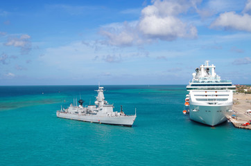 Cruise Ship and Navy vessel in the Caribbean