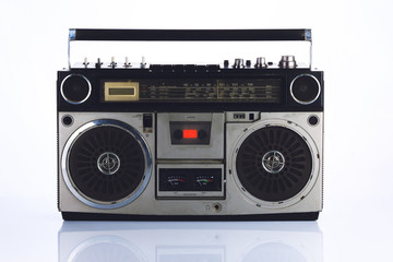 Stylish retro boombox on white Fototapete