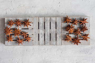 Spicy spice star anise on wooden stand on grey concrete background