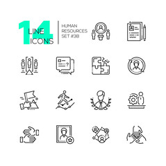 Human resources - set of line design style icons