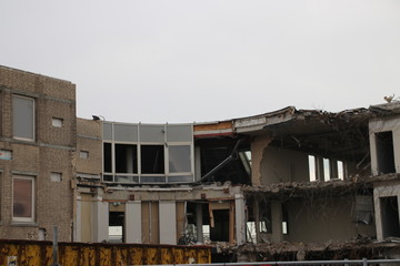 Demolition of the municipality office of Zuidplas including town hall in Nieuwerkerk aan den IJssel, the Netherlands.