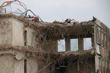 Demolition of the municipality office of Zuidplas including town hall in Nieuwerkerk aan den IJssel, the Netherlands.