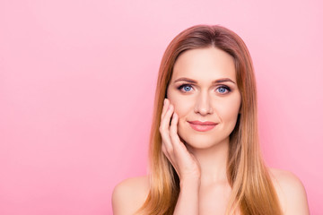 Wellness botox trend stylish vogue make up clean clear mask feminine hydration collagen apply gel scrub concept. Close up portrait of charming lady enjoying smooth skin isolated background copy-space