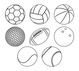 Vector set of outlines different sport balls isolated over a white background