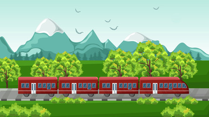 Train traveling Vector. Red vehicle on Beautiful green backgrounds